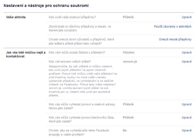 Nastavení soukromí na Facebooku