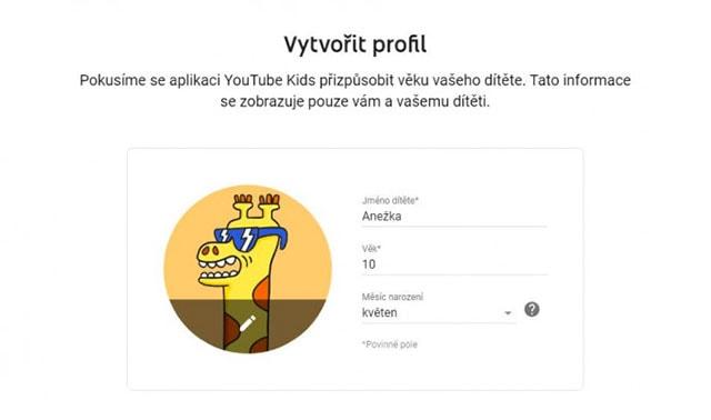 Vytvoření profilu na YouTube Kids
