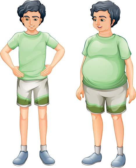 Postava hubeného a tlustého muže