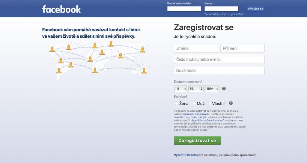 Facebook přihlášení a registrace